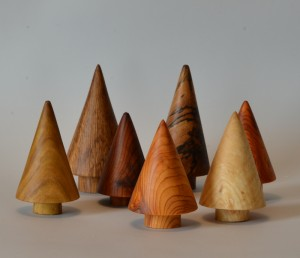 Image of group of turned christmas trees